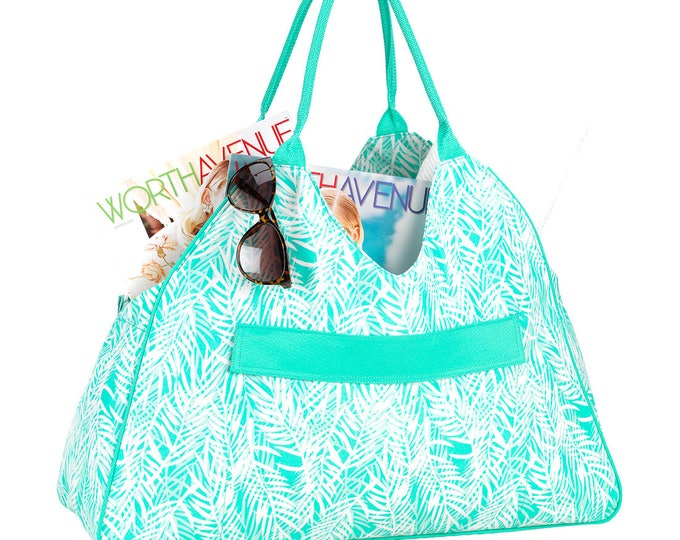 Mint green beach bag Spring break Easter Tote Vacation Overnight Beach wedding Outer Banks Wedding Bridesmaids gifts BeachHouseDreamsHomeOBX