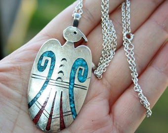 SALE...Large 925 Sterling Silver Native American Zuni Bird , Turquoise Coral Pendant Necklace  - STUNNING