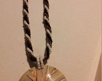 Multi bead faux shell necklace