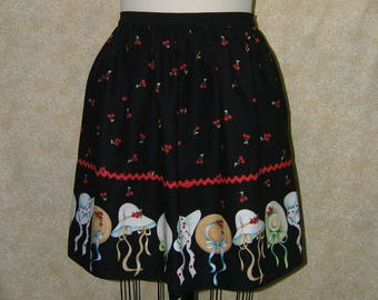 Cherry Bonnet apron hostess red ric rac cotton black red yellow lined top stitched reversible gathered at waist generous bow waisttieapron