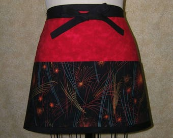 Fireworks at night apron deep pockets 3 section red black yellow cotton lined new years eve july 4th colorful waist tie farmers market