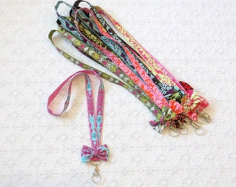 Preppy Boho Cotton Damask Ribbon Lanyard with Bow in 10 Colors