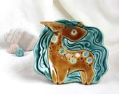Honey-Turquoise Romantic Unicorn (Soap Dish - Wall picture) - Hand Made Ceramic Eco-Friendly Home Decor by studio Vishnya