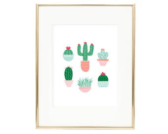 Colorful Cactus Wall Art Print