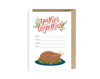 Gather Together Thanksgiving Dinner Invitations