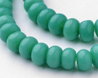 Rondelle Glass Bead Strand - Dark Cyan - Sold per strand - #GLAA-D079-6mm-14