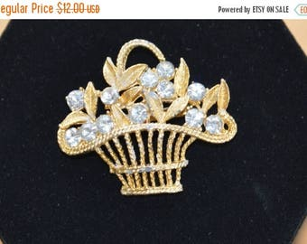 ON SALE Pretty Vintage Rhinestone Basket Brooch,SALE 12.00, reg. 16.00