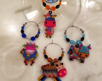 Cow Cows  Wine Charms WITH POUCH