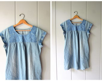 Vintage Mexican Dress Blue Cotton Embroidered Dress Midi Dress Hand Stitched Floral Tunic Frock Bohemian Vintage Boho Womens Small Medium
