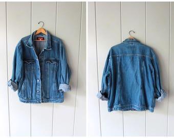 Oversized Denim Trucker Jacket Blue Jean Wrangler Jacket Coat 90s Vintage Slouchy Boyfriend Jean Jacket Boho Biker Grunge Coat Mens 2XL