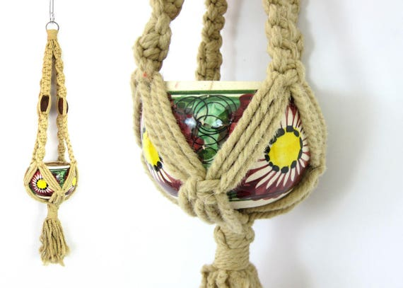 1970s Macrame Plant Hanger with Painted Pot Planter Braided Plant Hanger Boho Home Decor Wood Beads Bohemian Chic Ranch Decor GS