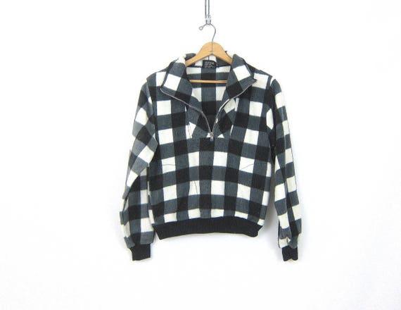 vintage Buffalo Check fleece sweatshirt Pullover Black and White Plaid blanket Ski Sweater jacket Zipper Neck Size Medium Large