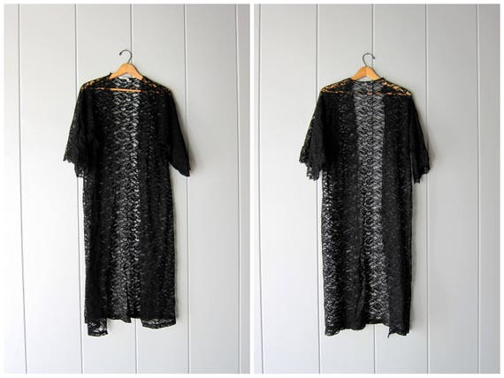 Black Lace Robe Vintage 60s Coverup Sheer Lace Kimono Mid Century Sexy Dressing Robe Boudoir Pin-Up Lingerie Gown Hollywood Womens Small