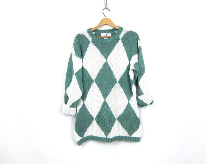 Vintage Tunic Sweater Long Diamond Knit Green and White Cotton Ramie Sweater Womens Size Small