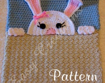 PDF CROCHET PATTERN Peek-a-Bunny, Bunny Pajama Pillow, boy Pj bag, girl Pj pillow, animal Pj pillow, pet Pj pillow, bed Pj pillow