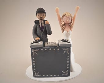 Bride & Groom Custom Handmade DJ Theme Wedding Cake Topper