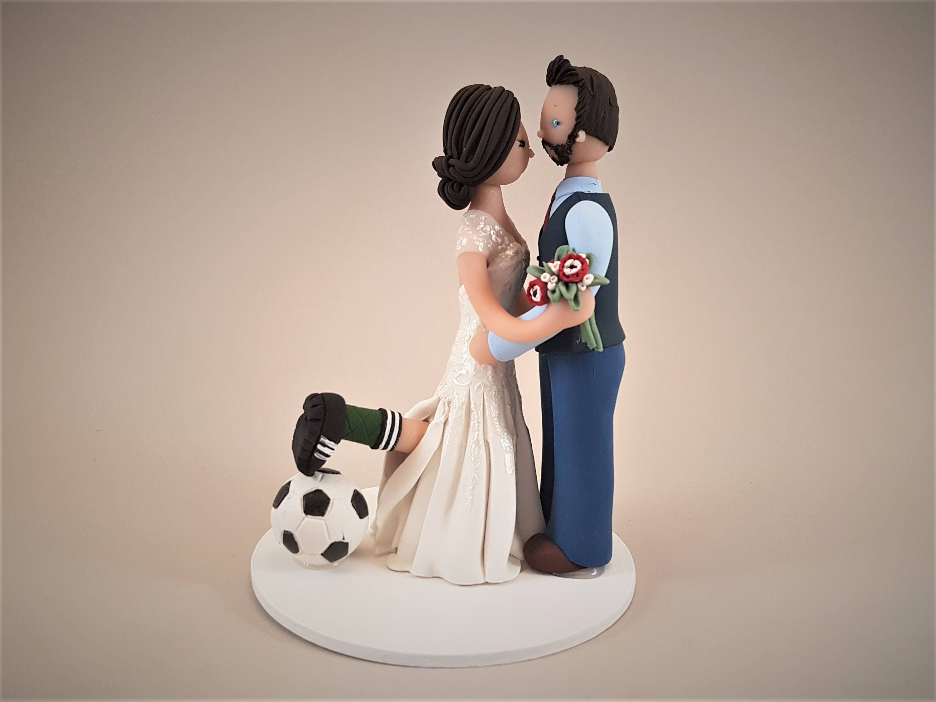 Bride & Groom Soccer Fans Custom Made Wedding Cake Topper ...