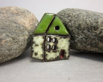 Rustic Ceramic House Button...English Cottage...Green Roof