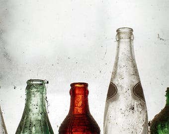 Rustic Photography, Wall Art, Farmhouse Decor, Photo of Old Bottles, Still Life Photograph, Window Picture, Amber, Green, Grey, White