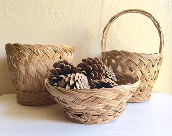 Decorators Set of 3 Vintage Farmhouse Style Matching Woven Baskets Bowls Planter Natural Great Condition Bohemian Boho