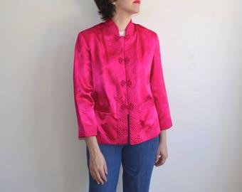 Vintage Hot Pink Silk Brocade Jacket/ Mandarin Collar Frog Closures/Chinese Jacket