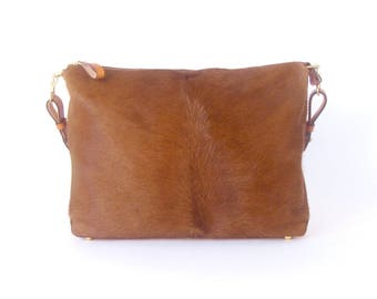 Brown Cowhide HOBO Bag ~  Hair on Hide Shoulder Bag