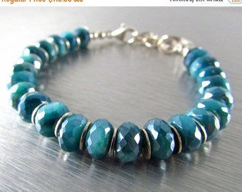 25 % OFF Blue Mystic Moonstone With Sterling Silver Bracelet
