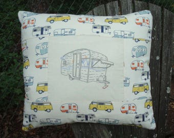 Travel Trailer Camper Pillow Cover Hand Embroidered