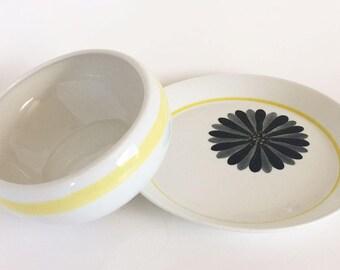 Vintage Arabia Finland Lea White Yellow Stripe Oval Bowl and Plate, 1964 Kaj Franck Flower