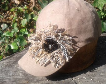 Faux Suede Baseball Cap with Sparkly Fringe Flower