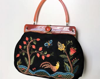 Vintage Bakelite Embroidered Mid Century Handbag - Black with Colorful Embroidery Butterflies Birds Flowers Leaves Butterfly Floral Detailed