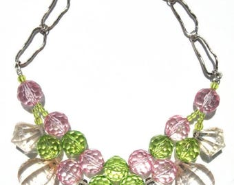 CLEARANCE Fun Pink green clear acrylic handmade statement necklace
