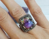 Purple Labradorite Ring with Rainbow in Sterling Silver Size 7