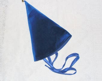 blue velvet pointy hat with gold jingle bell