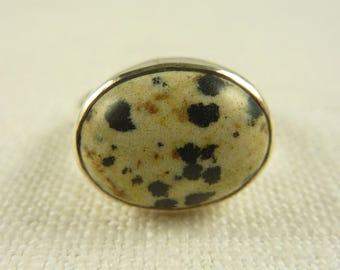 Size 7.25 Vintage Sterling Dalmation Jasper Ring