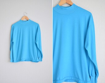 Size L // AQUA BLUE MOCK Turtleneck Top // Long Sleeve - High Neck - Oversized - Basics - Minimalist - Vintage '80s.