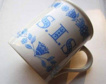 Vintage Hallmark Cards Inc Mug ~ Happy mugs ~ Sister Gifts ~ SIS Hallmark Mug~ Blue Flowers ~ made in Japan Ceramic Mug ~ Coffee Shop Mug ~