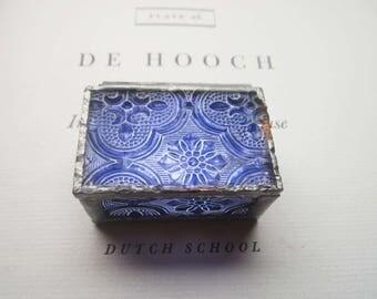 Vintage Glass Box, Blue and Mirrored 1980's Glass Box ~ Tiny Soldered Gift Box, Ring Box, Weddings, Anniversary, Friendship Box ~ Stash Box