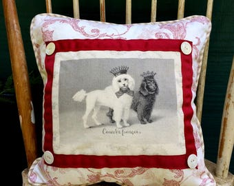 Poodles with French Crowns, French Country Decor, Farmhouse Decor, Burgandy Waverly Damask with Beige ticking Back, Poodles in Crowns