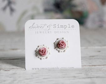 Shabby chic blush rose post earrings.  Vintage style studs