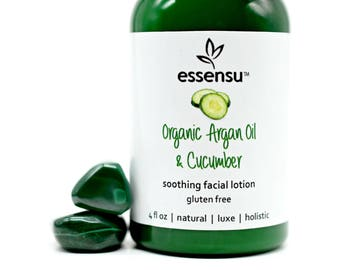 Organic Argan Oil and Cucumber Soothing Facial Moisturizer | Ideal for Sensitive Skin | Natural Formula | Unscented | No Gluten Vegan - 4 oz