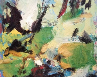 Abstract expressionist painting original acrylic landscape, Russ Potak