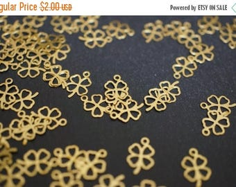 SUMMER SALE Raw Brass Four Leaf Clover Necklace Ends or Charms - 20 pcs