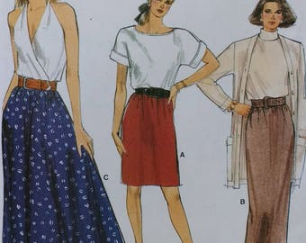 Misses Half Size Skirt Pattern Very Easy Vogue 9882 Misses Skirt, Straight Skirt,Flared Skirt, Half sizes included ,Overlock Sewing Guide