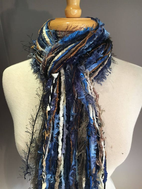 Fringie in Montana, Handmade tied scarf, photo prop, Royal blue brown black, fringe scarves, boho, yarn tied scarf, ribbon scarf, tribal