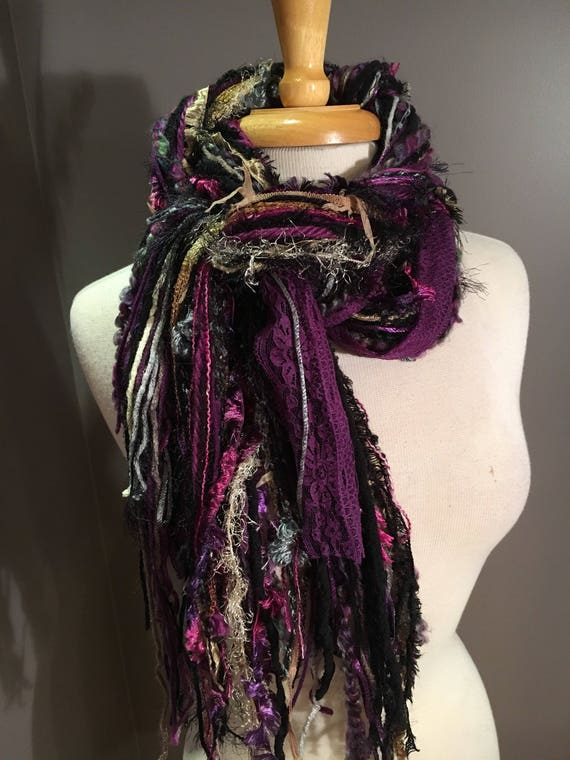 Fringie Scarf, Royal Crown, Handmade Fringe Scarf in rich purples, black, gold, yellow, bohemian, fur scarf, long scarves