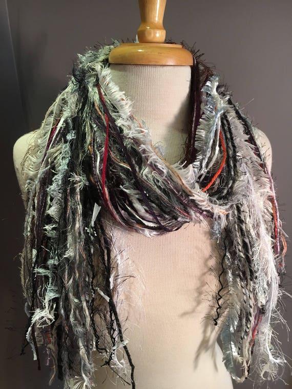 Medium Fringie in Moon Dance, All Fringe Scarf, Handmade hand-tied art fringe scarf in grey purple white, bohemian, gifts, short scarf, fur