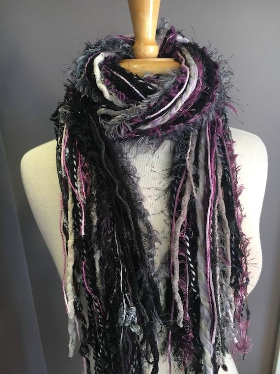 Fringie scarf , Fringe art yarn scarf 'Lavendar Lilac', handmade, Fringe Scarf, purple grey black scarves, art yarn scarf, boho fashion