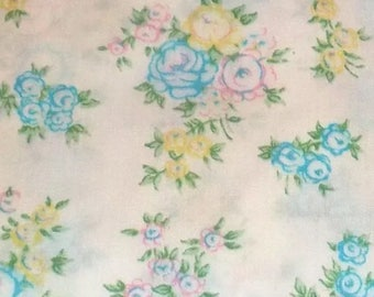 One Yard of Vintage Sheet Fabric.  Blue and yellow floral mod