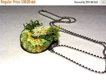 Save25% Lichen Filled Shell Necklace-Seashore necklace-Woodland forest cottage necklace